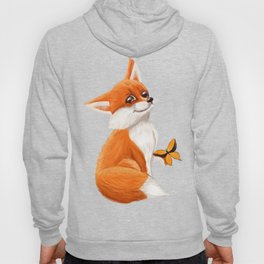 Cute fox playing with a butterfly Hoody
