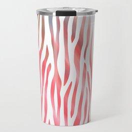 Abstract pink coral teal aqua watercolor zebra pattern Travel Mug