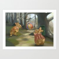 rabbits Art Prints featuring Rabbits by Elena Naylor