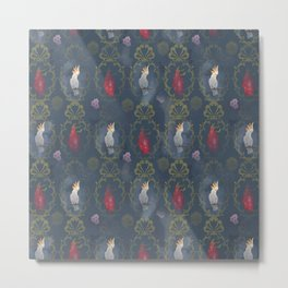 Parrot and dragonfruit baroque pattern Metal Print