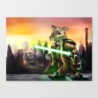 jedi Canvas Prints featuring Gerbil Jedi by Wesley S Abney