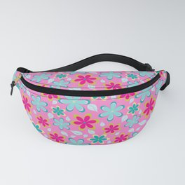 Funky Retro Flowers | Pink, Teal, Gold Floral Pattern Fanny Pack