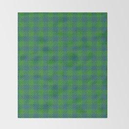 Abeytes, Blue Stone on Forest Green, Ungulate Plaid Throw Blanket