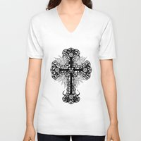 cross V-neck T-shirts featuring cross by T.Grimm