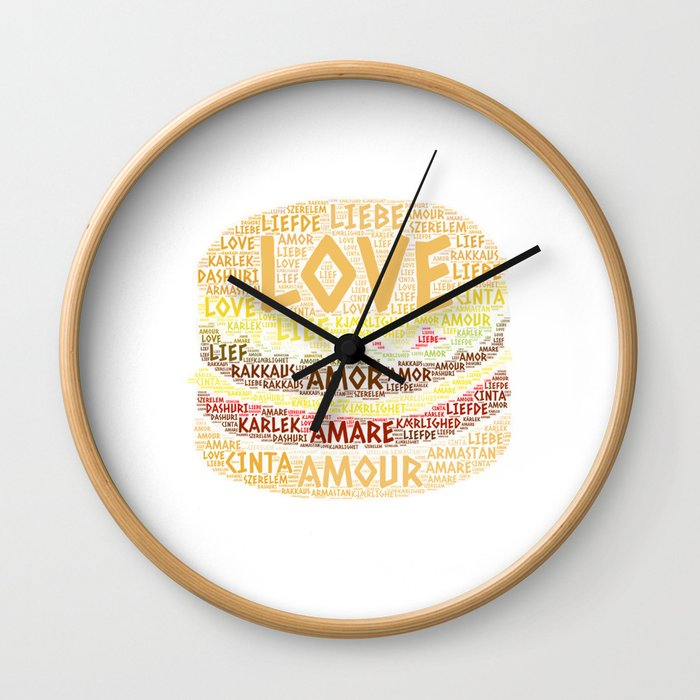 Hamburger illustrated with Love Word of different languages Wall Clock