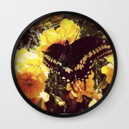 Butterfly with orange flowers Wall Clock