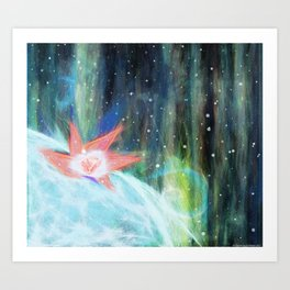 Lights turned down. Shining up to the sky. Art Print