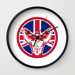 British Physical Fitness Union Jack Flag Icon Wall Clock