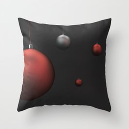 Set of red and silver christmas balls Throw Pillow