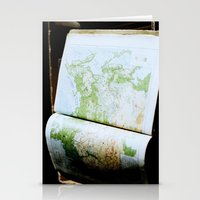 vintage map Stationery Cards featuring Vintage Map by Katie Yang