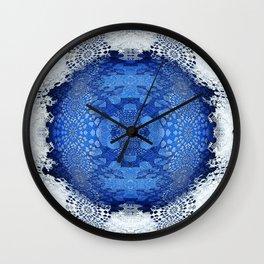 Gothic Blue Lace Distressed Mandala Wall Clock