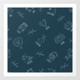 Zodiac astrological constellation pattern Art Print