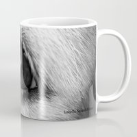 golden retriever Mugs featuring Golden retriever eye by Isabelle Savard-Filteau