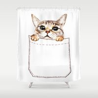 pocket fuel Shower Curtains featuring Pocket cat by Anna Shell