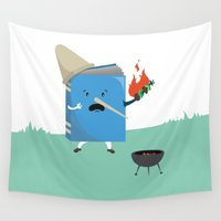 cooking Wall Tapestries featuring cute book character cooking in the park by daiko posters