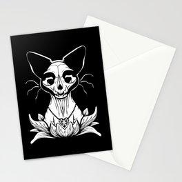 Sphynx Skull - Black and White Cat Flower Dark Art Stationery Cards