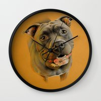 bull terrier Wall Clocks featuring American pit bull terrier by Frederica Morgan