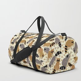 Adorable Racoon Friends, Animal Pattern in Nature Colors of Grey and Brown with Paw Prints Duffle Bag