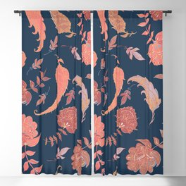 Paradise Patterns - Blue & Coral Blackout Curtain