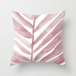 Pink Palm Leaf Crop Throw Pillow