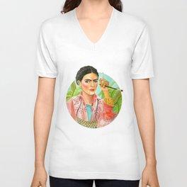 Frida Kahlo. Portrait with brush Unisex V-Neck