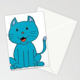cat light blue Stationery Cards