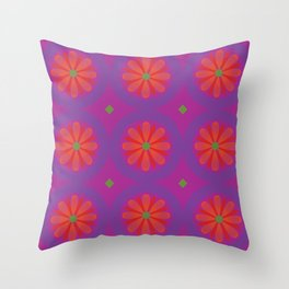 Magenta pattern with geometric flowers Throw Pillow