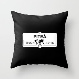 Piteå Norrbotten GPS Coordinates Map Artwork with Compass Throw Pillow