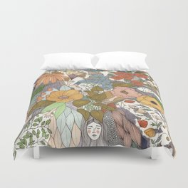 Falling Asleep in the Flowers Fine Art Print Duvet Cover