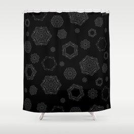 White geometric mandala hexagon with tribal pattern Shower Curtain