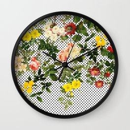 Points and Flowers Pattern Wall Clock