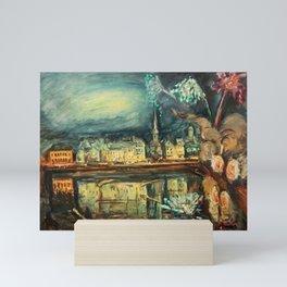 Fireworks on the River Seine, France, Bastille Day by Othon Friesz Mini Art Print