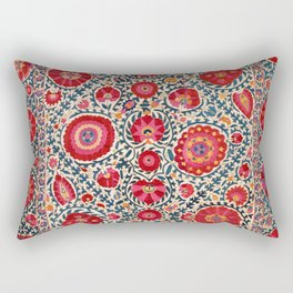 Kermina Suzani Uzbekistan Embroidery Print Rectangular Pillow