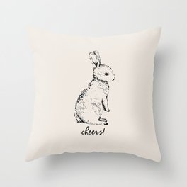 cheers little bunny Throw Pillow