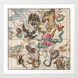Vintage Constellation Map - Star Atlas - Sagittarious - Scorpio Art Print