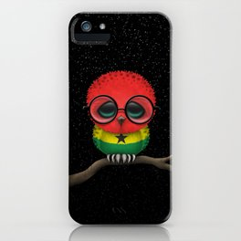 Baby Owl with Glasses and Ghana Flag iPhone Case