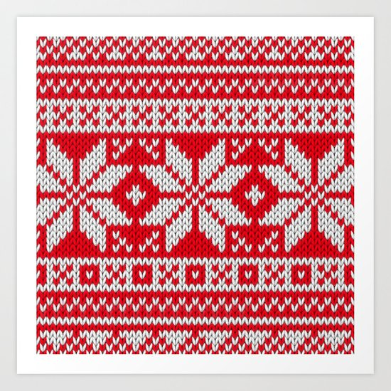 Winter knitted pattern 3 Art Print