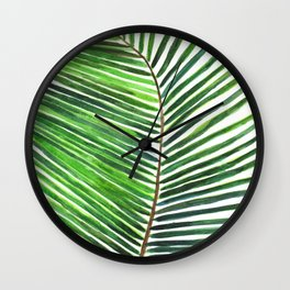 Palm watercolor leaf- Tropical print Wall Clock