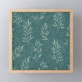 Floral Leaves Pattern, Faux Linen, Teal Framed Mini Art Print