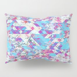 Blue magenta marble grungy triangles Pillow Sham
