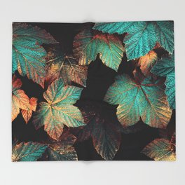 Copper And Teal Leaves Throw Blanket