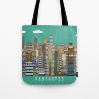 vancouver Tote Bags featuring Vancouver skyline by bri.buckley