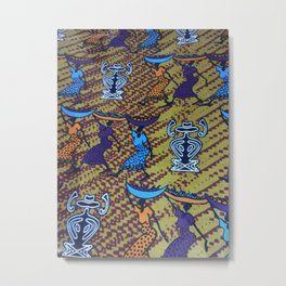 Ankara Print African Ladies Going to Market Metal Print