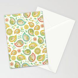 Hedgehog Paisley_Green outline Stationery Cards