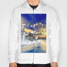 Dolphin jumps by a heart Hoody