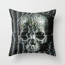 Analogue Glitch Jawless Skull Throw Pillow