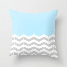Grey, White & Blue Half Chevron Throw Pillow