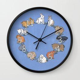 CLOCK BUNNIES (white) Wall Clock