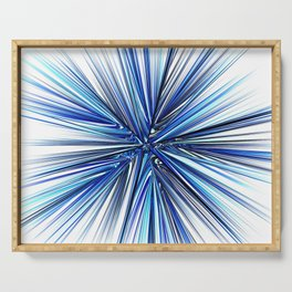 Symmetrical fractal abstract light rays effect neon art Serving Tray