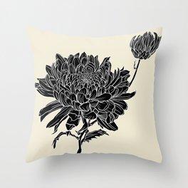 Black Chrysanthemum Throw Pillow
